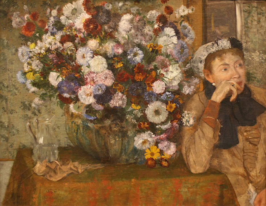 WLA_metmuseum_A_Woman_Seated_beside_a_Vase_of_Flowers_by_Edgar_Degas